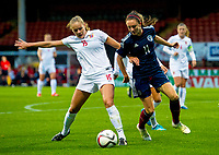 17/09/15 VAUXHALL WOMEN'S INTERNATIONAL CHALLENGE MATCH<br /> SCOTLAND v NORWAY<br /> FIRHILL - GLASGOW<br /> Norway's Andrine Tomter (left) tussles with Lisa Evans
