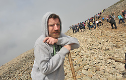 Faces on Croagh Patrick .....Michael Faughnan from Leitrim pictured on Croagh Patrick yesterday.<br /> Pic Conor McKeown