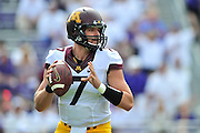 FORT WORTH, TX - SEPTEMBER 13:  Mitch Leidner #7 of the Minnesota Golden Gophers drops back to pass against the TCU Horned Frogs on September 13, 2014 at Amon G. Carter Stadium in Fort Worth, Texas.  (Photo by Cooper Neill/Getty Images) *** Local Caption *** Mitch Leidner