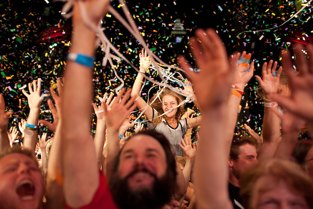 Confetti and streamers shower fans during the finale of The Flaming Lips  set at City Plaza in Raleigh, N.C., on the last night of the Hopscotch Music Festival, Saturday, Sept. 10, 2011.