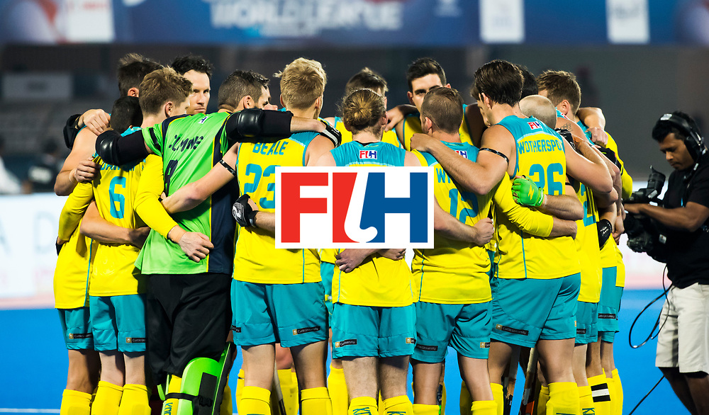BHUBANESWAR - Huddle Australia. . Hockey World League finals , Quarter Finals . Spanje-Australie (1-4)  COPYRIGHT KOEN SUYK