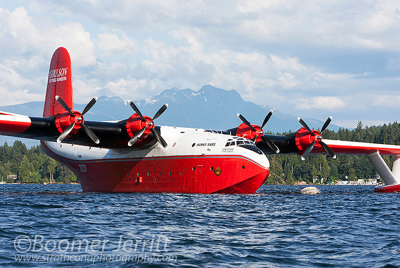 The huge Martin Mars Water Bombers are a popular tourist draw at their home base on Sproat Lake in Port Alberni.  Port Alberni, Vancouver Island, British Columbia, Canada