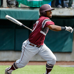 Texas Southern catcher Blake Hicks (37) hits a bases loaded RBI single against the Alabama State during the top of the first inning of the SWAC baseball championship final in New Orleans, La. Sunday, May 21, 2017.