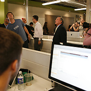 Mayor Richard Daley, right, gets a tour of Groupon's headquarters by founder and CEO Andrew Mason, left, Tuesday August 31, 2010. Groupon's headquarters are in the former Montgomery Wards' catalog warehouse.  Jose More Photography....