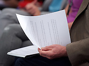 Jeremy Corbyn MP <br /> speech to the Labour Women's Conference, Brighton, Great Britain <br /> 26th September 2015 <br /> <br /> <br /> Jeremy Corbyn reading his notes before speech <br /> <br /> <br /> Photograph by Elliott Franks <br /> Image licensed to Elliott Franks Photography Services