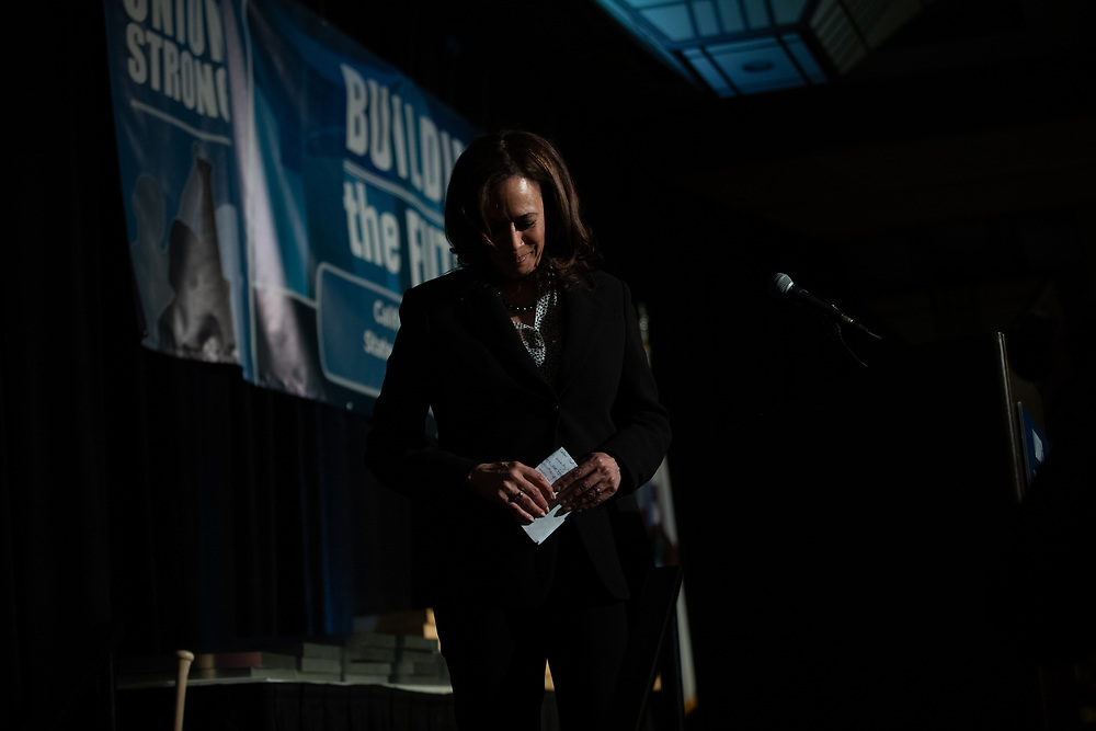 Kamala Harris speaks to the California Labor Federation and State Building and Construction Trades Council Monday, April 1, 2019 during their legislative conference dinner in Sacramento, Calif.