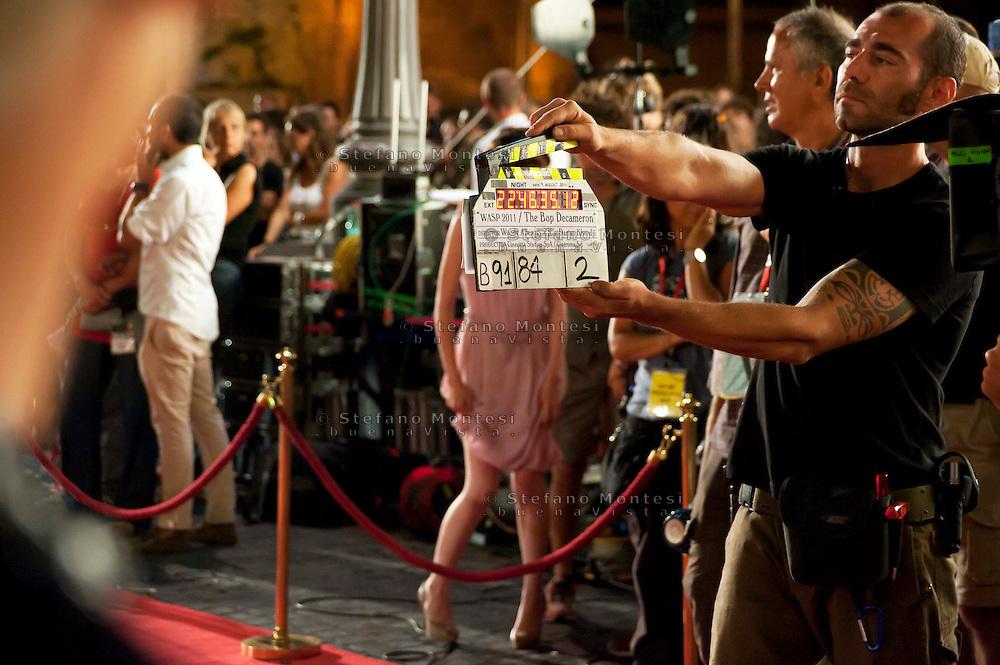 Roma 9 Agosto  2011.Il set del  film The Bob Decameron di Woody Allen, a Piazza della Repubblica.Il ciak.