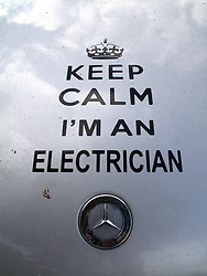 UK ENGLAND LONDON 20JUL13 - Keep calm I'm an electrician sticker on a Mercedes van at Portobello Market, west London.<br /> <br /> <br /> <br /> jre/Photo by Jiri Rezac<br /> <br /> <br /> <br /> © Jiri Rezac 2013