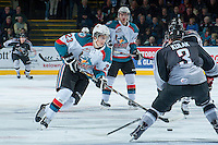 KELOWNA, CANADA - JANUARY 4: Justin Kirkland #23 of the Kelowna Rockets skates with the puck against the Vancouver Giants on January 4, 2014 at Prospera Place in Kelowna, British Columbia, Canada.   (Photo by Marissa Baecker/Shoot the Breeze)  ***  Local Caption  ***