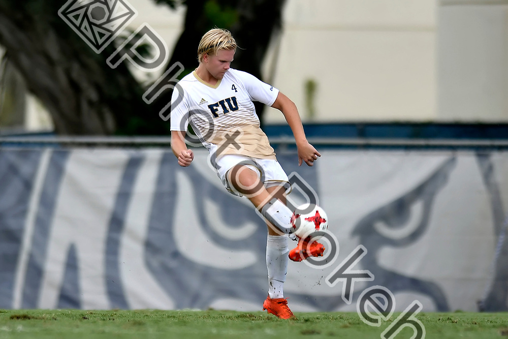 2017 September 03 - FIU's Aron Heiddal (4). FIU Men's Soccer defeated Charlotte, 3-2, at FIU Soccer Complex, Miami, Florida. (Photo by: Alex J. Hernandez / photobokeh.com) This image is copyright by PhotoBokeh.com and may not be reproduced or retransmitted without express written consent of PhotoBokeh.com. ©2017 PhotoBokeh.com - All Rights Reserved