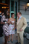 Anita Ighodaro, Nura  Khan and Andrew Neil. The Business Summer party hosted by Andrew Neil. Italian Hotel, Ritz Hotel. 12 July 2005. ONE TIME USE ONLY - DO NOT ARCHIVE  © Copyright Photograph by Dafydd Jones 66 Stockwell Park Rd. London SW9 0DA Tel 020 7733 0108 www.dafjones.com