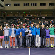 March 7, 2015, Indian Wells, California:<br /> Charity members pose for a check presentation photograph during the McEnroe Challenge for Charity presented by Masimo in Stadium 2 at the Indian Wells Tennis Garden in Indian Wells, California Saturday, March 7, 2015.<br /> (Photo by Billie Weiss/BNP Paribas Open)
