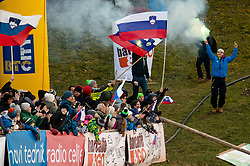 Supporters of Slovenia celebrate during Team Competition at Day 2 of World Cup Ski Jumping Ladies Ljubno 2019, on February 9, 2019 in Ljubno ob Savinji, Slovenia. Photo by Matic Ritonja / Sportida