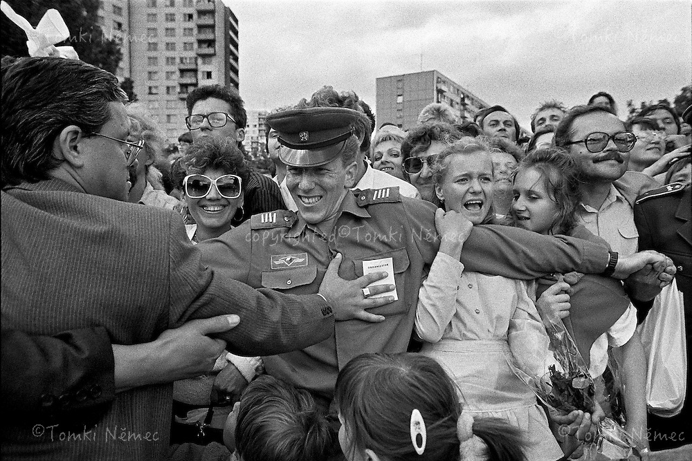 Slovakia,1990 -President Vaclav Havel  welcomed by citizens on his trip on East Slovakia