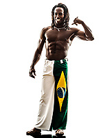 one Brazilian black man call me gesture on white background