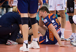 Injured Dejan Vincic of ACH at 2nd Semifinal match of CEV Indesit Champions League FINAL FOUR tournament between ACH Volley, Bled, SLO and Trentino BetClic Volley, ITA, on May 1, 2010, at Arena Atlas, Lodz, Poland. Trentino defeated ACH 3-1. (Photo by Vid Ponikvar / Sportida)