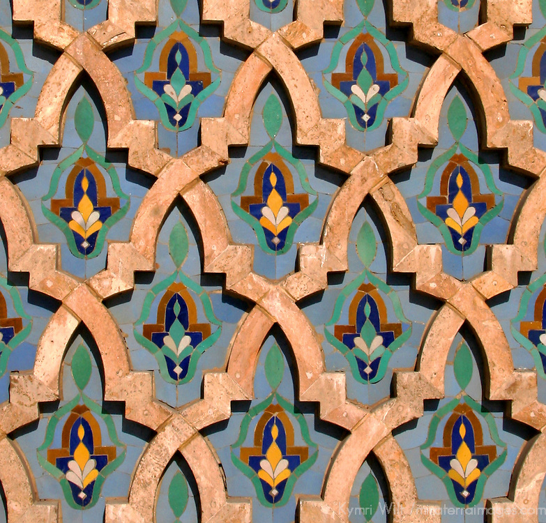 North Africa, Morocco, Casablanca. Hassan II Mosque mosaic tile detail
