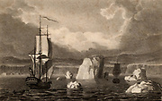 Sailing ships among icebergs in the Arctic Circle.  Engraving from 'The Gallery of Nature and Art' by the Rev. Edward Polehampton (London, 1815).