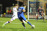 AFC Wimbledon attacker Egli Kaja (21) with a shot on goal during the EFL Trophy match between AFC Wimbledon and Luton Town at the Cherry Red Records Stadium, Kingston, England on 31 October 2017. Photo by Matthew Redman.