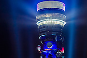 London Landmarks - The BT Tower is illuminated with a light show and fireworks to mark the start of the countdown to the last 1000 days before the London Olympics in 2012.