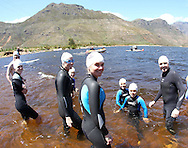 young Development Swimmers before the start of the 200m Celebrity Splash held as part of the Bridge House Mile Swim at the Berg River Dam in Franschhoek on the 2nd November 2013<br /> <br /> Photo by Ron Gaunt - WWF - Sportzpics