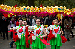 © Licensed to London News Pictures. 20/10/2015. London UK. A group of Chinese musicians  perform on The Mall in London leading to Buckingham palace as Chinese President Xi Jinping starts day one of a four day State Visit to the United Kingdom. Photo credit: Ben Cawthra/LNP