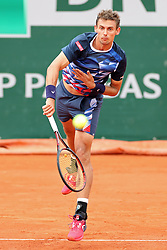 May 30, 2019 - Paris, France - Henri Laaksonen (SUI) serves to Novak Djokovic (SRB) during the French Open Tennis at Stade Roland-Garros, Paris on Thursday 30th May 2019. (Credit Image: © Mi News/NurPhoto via ZUMA Press)
