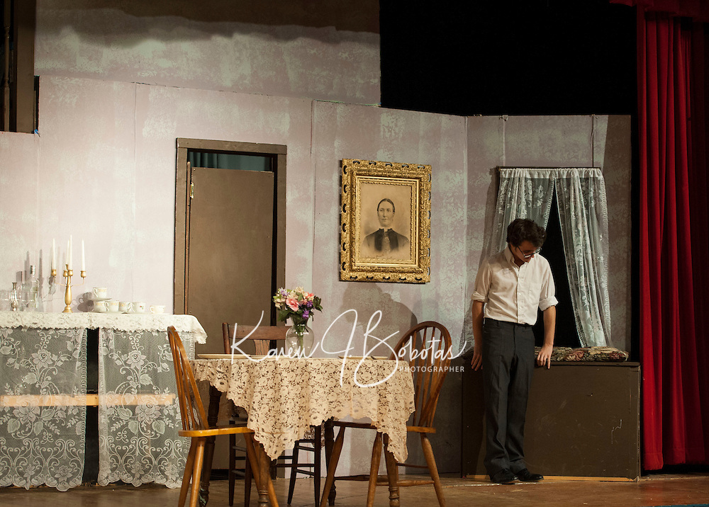 "Dress rehearsal for ""Arsenic and Old Lace"" at Laconia High School.    Karen Bobotas/for the Laconia Daily Sun"