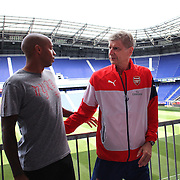 Thierry Henry, New York Red Bulls and former Arsenal player, with Arsenal Manager Arsène Wenger at Red Bull Arena ahead of the friendly match between Arsenal and New York Red Bulls. Red Bull Arena, Harrison, New Jersey. USA. 24th July 2014. Photo Tim Clayton