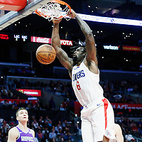 12 October 2017: LA Clippers center DeAndre Jordan (6) dunks the ball during the LA Clippers 104-87 victory over the Sacramento Kings, at the Staples Center, Los Angeles, California, USA.