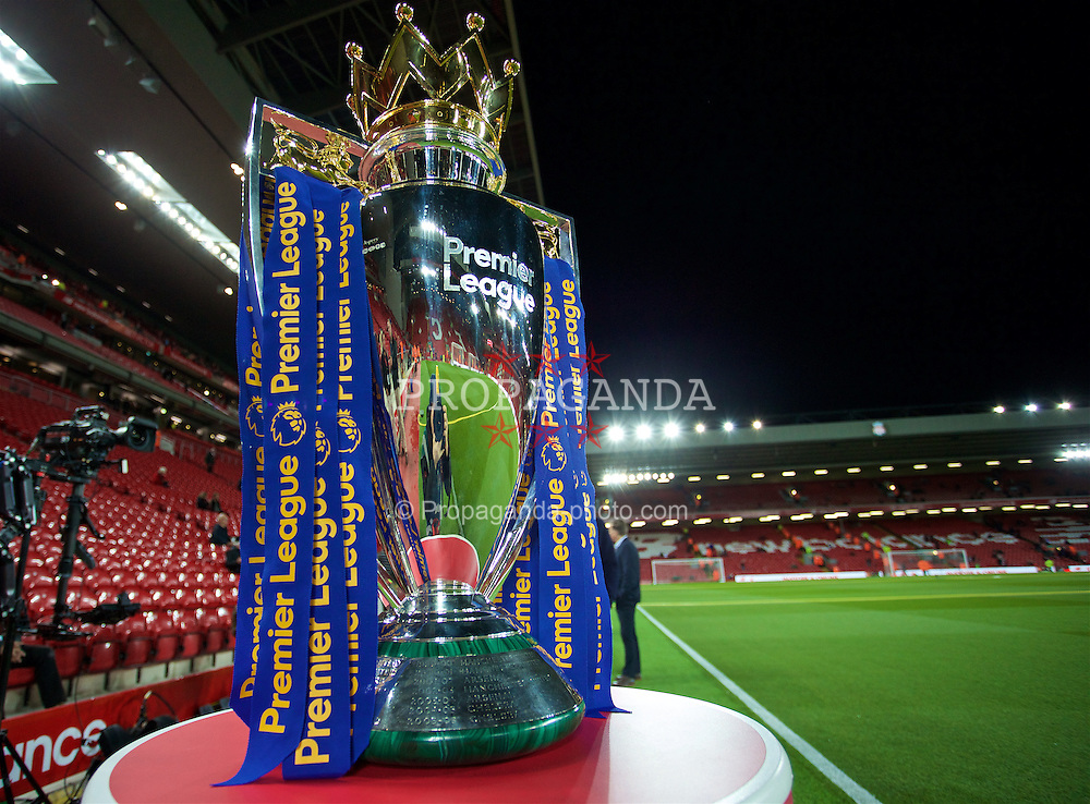 LIVERPOOL, ENGLAND - Monday, October 17, 2016: The Premier League trophy under the floodlights at Anfield before the FA Premier League match between Liverpool and Manchester United. (Pic by David Rawcliffe/Propaganda)