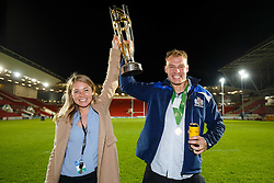 Georgia Stone and Mitch Eadie of Bristol Rugby celebrate after winning the Championship Final and promotion to the Aviva Premiership - Mandatory byline: Rogan Thomson/JMP - 25/05/2016 - RUGBY UNION - Ashton Gate Stadium - Bristol, England - Bristol Rugby v Doncaster Knights - Greene King IPA Championship Play Off FINAL 2nd Leg.