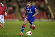 Tareiq Holmes-Dennis (Oldham Atheltic) runs with the ball during the Sky Bet League 1 match between Barnsley and Oldham Athletic at Oakwell, Barnsley, England on 12 April 2016. Photo by Mark P Doherty.