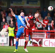 Crawley Town striker Matt Harrold and Leyton Orient defender Alan Dunne compete for a high ball during the Sky Bet League 2 match between Crawley Town and Leyton Orient at the Checkatrade.com Stadium, Crawley, England on 10 October 2015. Photo by Bennett Dean.