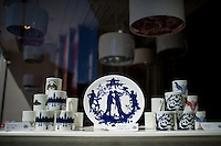 Glasgow, Scotland - JULY 11, 2014: Ceramic mugs and plates featuring the provocative designs of Timorous Beasties, a Glasgow company founded by Alistair McAuley and Paul Simmons. They are best known for their contemporary take on French Toile. CREDIT: Chris Carmichael for The New York Times