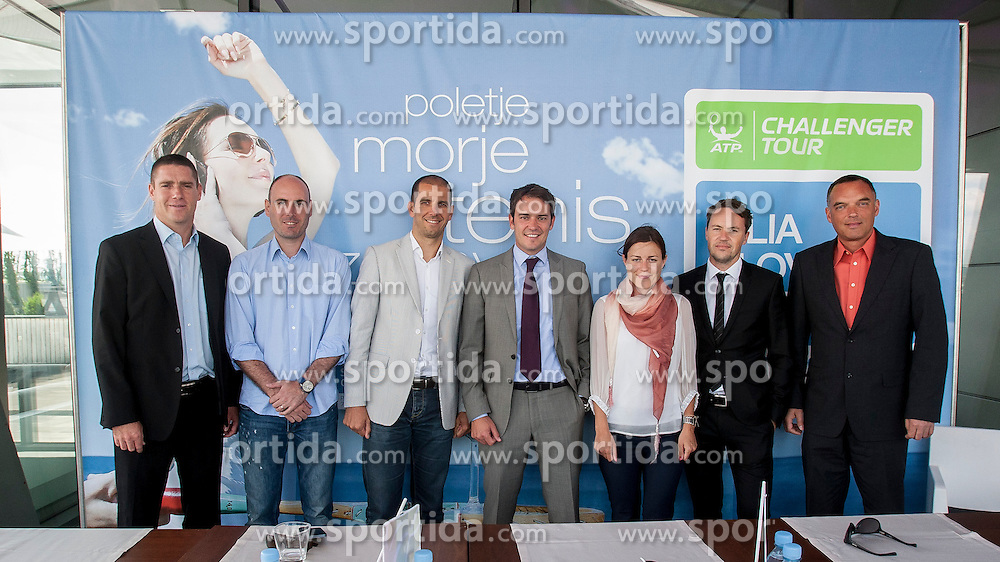 Gregor Krusic, Ziga Ham, Marko Mlakar, Denis Topcic, Lea Stumberger, Jaka Dolenc and Gasper Bolhar during press conference of ATP Challenger tournament Tilia Slovenia Open in Portoroz from 7th - 13rd July 2014 on June 4, 2014 in Kristalna palaca, Ljubljana, Slovenia. Photo By Urban Urbanc / Sportida