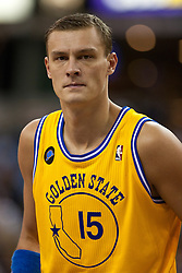 March 14, 2011; Sacramento, CA, USA;  Golden State Warriors center Andris Biedrins (15) before a free throw against the Sacramento Kings during the second quarter at the Power Balance Pavilion. Sacramento defeated Golden State 129-119.
