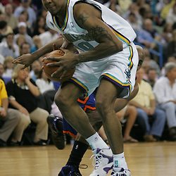 New Orleans Hornets forward David West #30 drives to the basket against the New York Knicks  in the third quarter of their NBA game on April 4, 2008 at the New Orleans Arena in New Orleans, Louisiana. New Orleans Hornets defeated the New York Knicks 118-110 and with the win clinched a NBA Playoff birth.