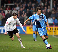 Photo: Mark Stephenson/Richard Lane Photography. <br /> Hereford United v Wycombe Wanderers. Coca-Cola League Two. 15/03/2008. Wycombe's Stefan Oakes goes past Hereford's Gary Hooper