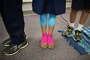 Students line up before recess in Laura Polden's third grade class during the first day of school at Zanker Elementary School in Milpitas, California, on August 19, 2013. (Stan Olszewski/SOSKIphoto)