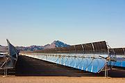 Parabolic mirrors at Nevada solar power generation facility