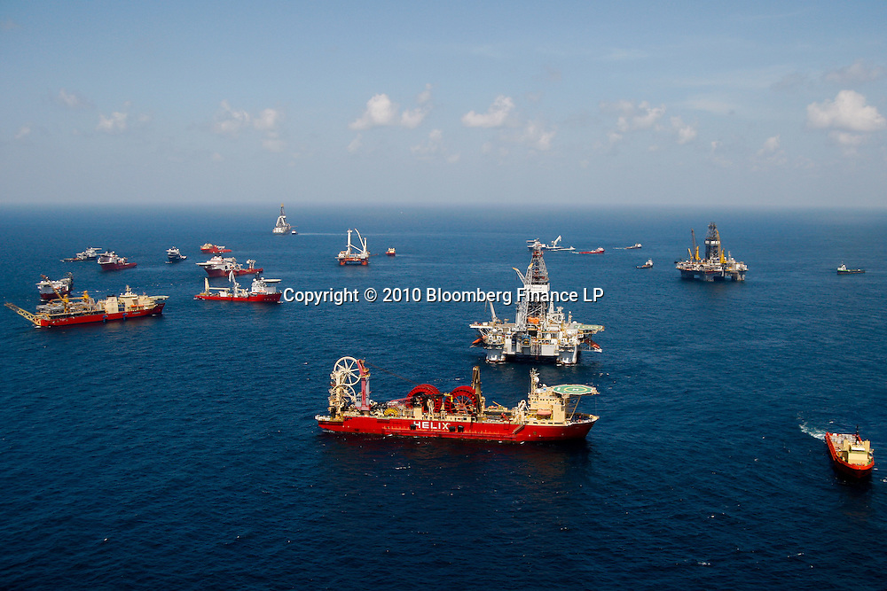 Ships working at the BP Plc Macondo well site in the Gulf of Mexico off the coast of Louisiana, U.S., on Thursday, July 29, 2010. BP Plc continues to work on a relief well to permanently plug the source of the largest oil spill in U.S. history.  Photographer: Derick E. Hingle/Bloomberg