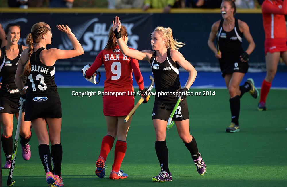 Anita Punt celebrates her goal. International Womens Hockey. New Zealand Black Sticks v Korea. Auckland. New Zealand. Friday 28 March 2014. Photo: Andrew Cornaga / www.photosport.co.nz