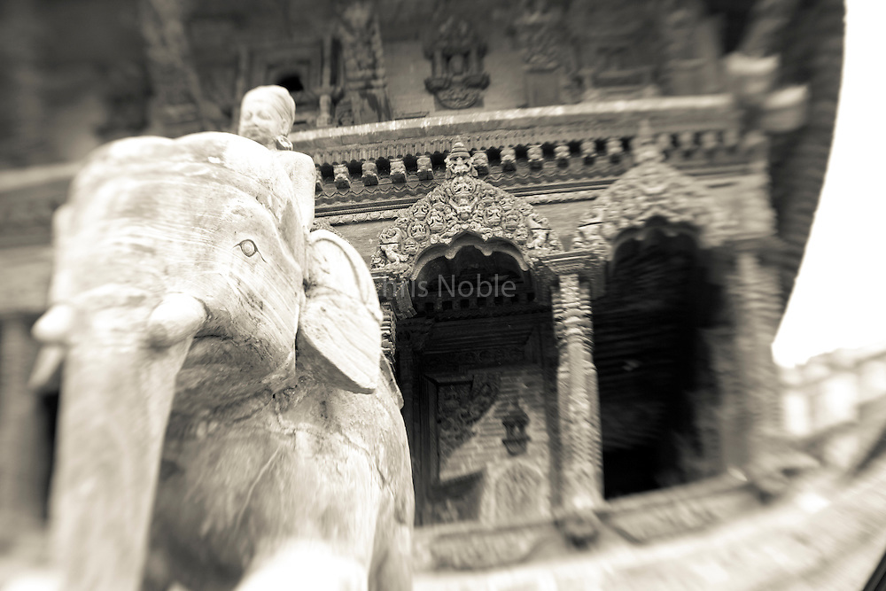 A statue of an elephant in Patan's Durbar Square.