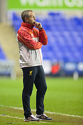 READING, ENGLAND - Wednesday, March 12, 2014: Liverpool's manager Neil Critchley during the FA Youth Cup Quarter-Final match against Reading at the Madejski Stadium. (Pic by David Rawcliffe/Propaganda)