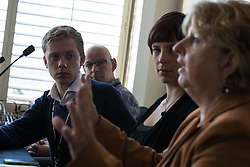© Licensed to London News Pictures . 28/09/2015 . Brighton , UK . L-R Owen Jones , Simon Sapper , Betsy Dillner and Karen Buck MP . Labour List fringe event at The Grand Hotel during the 2015 Labour Party Conference . Photo credit : Joel Goodman/LNP
