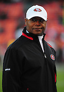 November 12, 2009; San Francisco, CA, USA; San Francisco 49ers head coach Mike Singletary watches warm ups before the game against the Chicago Bears at Candlestick Park. Mandatory Credit: Kyle Terada-Terada Photo