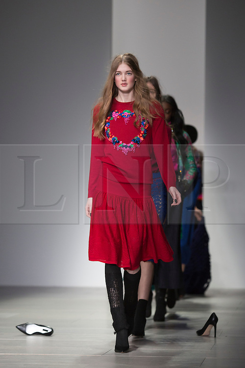 © Licensed to London News Pictures. 15 February 2014, London, England, UK. Models walk the runway at the Sister by Sibling show during London Fashion Week AW14 at Somerset House. Photo credit: Bettina Strenske/LNP