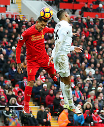 Roberto Firmino of Liverpool scores his sides first goal to make it 1-2  - Mandatory by-line: Matt McNulty/JMP - 21/01/2017 - FOOTBALL - Anfield - Liverpool, England - Liverpool v Swansea City - Premier League