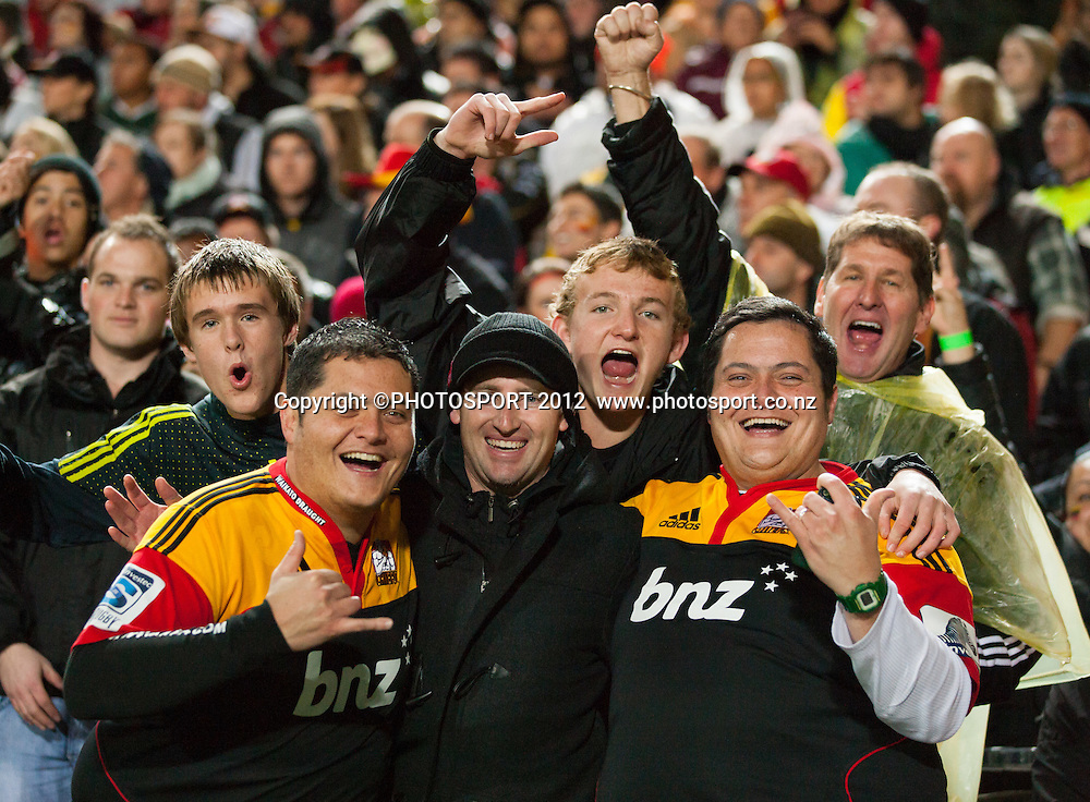 Happy Chiefs' fans celebrate after the Investec Super Rugby final between Chiefs and Sharks won by Chiefs 37-6 at Waikato Stadium, Hamilton, New Zealand, Saturday 4 August 2012. Photo: Stephen Barker/Photosport.co.nz